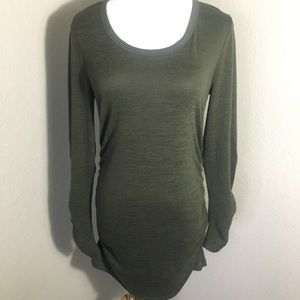 Long Sleeve Maternity Dress: Dark green